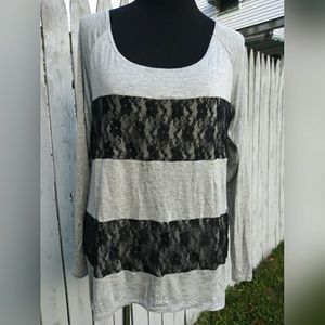 Charming Charlie lace stripe top